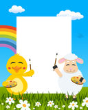 Easter Vertical Painters - Chick & Lamb royalty free stock images