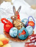 Wooden decoration easter rabbit and eggs royalty free stock photo