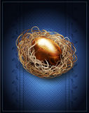 easter, vintage background with a golden egg in the nest Stock Photography