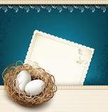 easter, vintage background with a nest and eggs Royalty Free Stock Photography