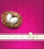 easter, vintage background with a nest and eggs Royalty Free Stock Image