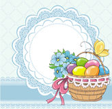 Easter vintage card with basket and eggs Royalty Free Stock Photography