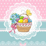 Easter vintage card with basket and eggs Stock Photo