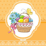 Easter vintage card with basket and eggs Royalty Free Stock Image