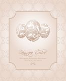 Easter vintage card with set eggs Stock Photos