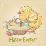 Easter vintage hand drawn card Stock Photography