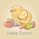 Easter vintage hand drawn card Stock Images