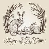Easter vintage hand drawn illustration. Happy Easter vector card design with bunnies and flowers. Easter vintage hand drawn illustration. Happy Easter lettering stock illustration