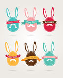 Easter vintage hipster eggs and rabbits. Vector illustration. Royalty Free Stock Photos