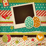 Easter vintage scrap card with eggs Stock Photography