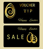Easter voucher with golden egg Stock Image