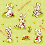 Easter wallpaper. Happy easter wallpaper. easter bunny and red egg Royalty Free Stock Photos
