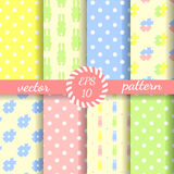Easter wallpaper. Set of cute vector backgrounds. Cartoon style Royalty Free Stock Photography