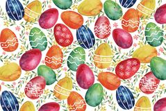 Frame with white and pink watercolor lilysEaster watercolor background with colorful Easter eggs and spring plants vector illustration