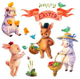 Easter watercolor collection with lamb, rabbit, birds and flower Royalty Free Stock Image