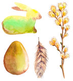 Easter watercolor collection with rabbit, egg, feather and willo Royalty Free Stock Image