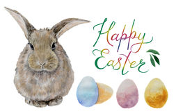 Easter watercolor eggs and rabbit Royalty Free Stock Images