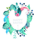 Easter watercolor natural illustration with chicken sticker Royalty Free Stock Image