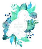 Easter watercolor natural illustration with duckling sticker Stock Photo