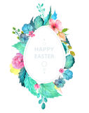 Easter watercolor natural illustration with egg sticker Stock Photography