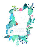 Easter watercolor natural illustration with kitten sticker Royalty Free Stock Photo