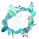 Easter watercolor natural illustration with lamb sticker Royalty Free Stock Photography