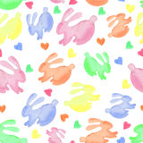 Easter  watercolor rabbit seamless pattern Royalty Free Stock Photo