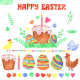 Easter  watercolor set.Isolated decor,clipart Royalty Free Stock Images