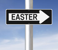 Easter This Way. A modified one way sign on Easter Royalty Free Stock Images