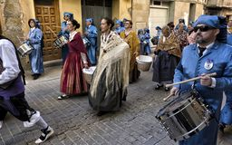 Easter week celebrations in Teruel, Spain. Alcaniz, Teruel, Spain - March 30: Easter week celebrations, the sound of drums can be heard in every corner of these stock image