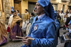 Easter week celebrations in Teruel, Spain. Alcaniz, Teruel, Spain - March 30: Easter week celebrations, the sound of drums can be heard in every corner of these royalty free stock photos