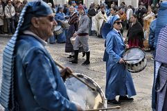 Easter week celebrations in Teruel, Spain. Alcaniz, Teruel, Spain - March 30: Easter week celebrations, the sound of drums can be heard in every corner of these royalty free stock photo
