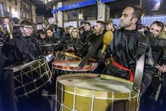 Easter week celebrations in Teruel, Spain. Calanda, Teruel, Spain - March 30: Easter week celebrations, the sound of drums can be heard in every corner of these royalty free stock image