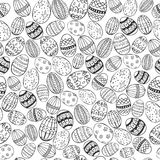 Easter White and Black Seamless. Easter Seamless with Hand Drawn Easter Eggs made in Dark Grey Color against White Background. Easter Holiday Print. Vector EPS Stock Photo