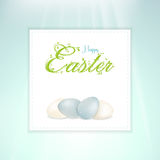 Easter white and blue speckled egg panel Royalty Free Stock Images