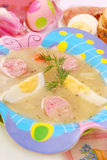 Easter white borscht for child Stock Photo