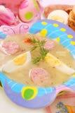 Easter white borscht for child Stock Photo