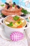 Easter white borscht with egg and sausage Stock Photos