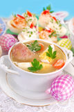Easter white borscht with egg and sausage Royalty Free Stock Images