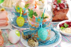 Easter white borscht with quail eggs and sausage in glass Royalty Free Stock Photo