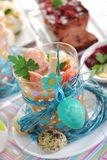 Easter white borscht with quail eggs and sausage in glass Royalty Free Stock Images