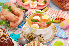 Easter white borsht with quil eggs and sausage Royalty Free Stock Photography