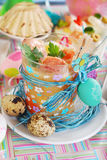 Easter white borsht with quil eggs and sausage in a glass Stock Photography
