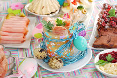Easter white borsht with quil eggs and sausage in a glass Royalty Free Stock Photography