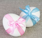 Easter White Chicken Eggs Tied with Ribbon Royalty Free Stock Image