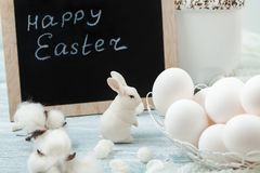 Easter white eggs and rabbit. Place for text Stock Images
