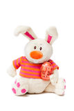 Easter white plush bunny. With egg Royalty Free Stock Photos