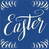 Easter. White script lettering on blue background. royalty free illustration