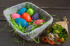 Easter wicker basket with colored eggs and a bunch of spring flowers on grey wooden board. Stock Photos