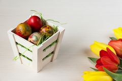Easter wicker basket with colored eggs and yellow and red tulips on white wooden board. Royalty Free Stock Photography